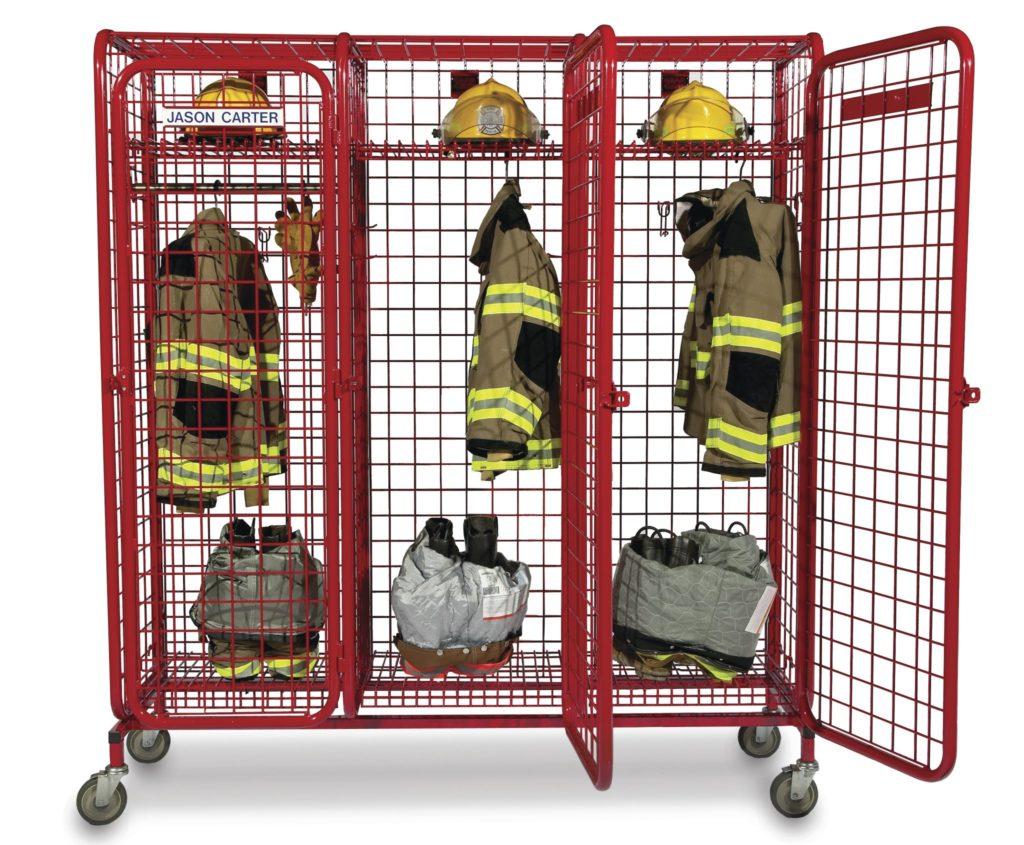 larmställsskåp, förvaring larmställ, förvaring brandslang, förvaring andningspaket, omklädningsrum brandstation,